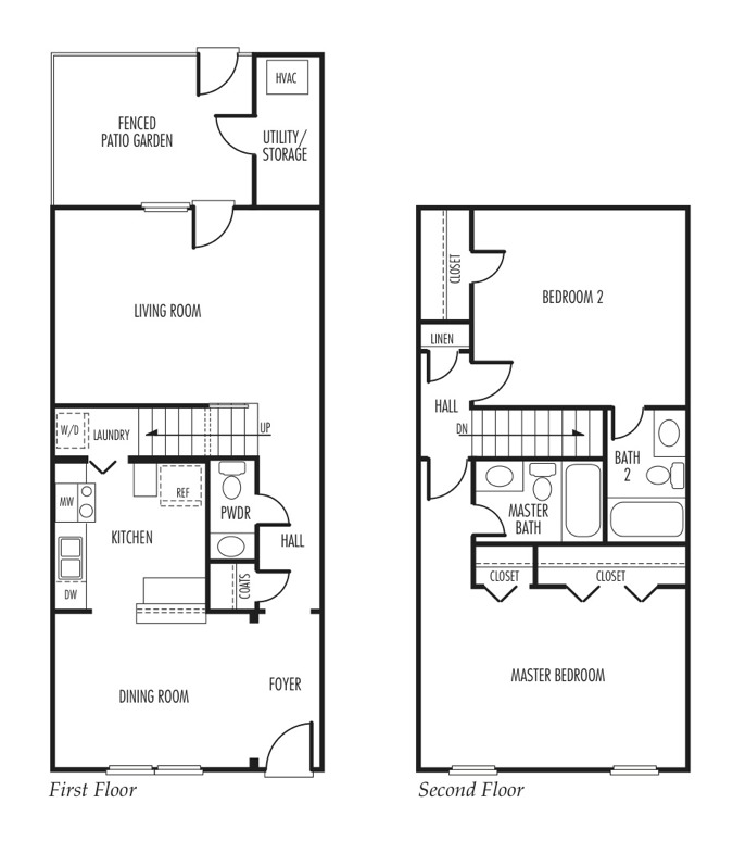 Floor plan of a 2 bed, 2.5 bath townhome