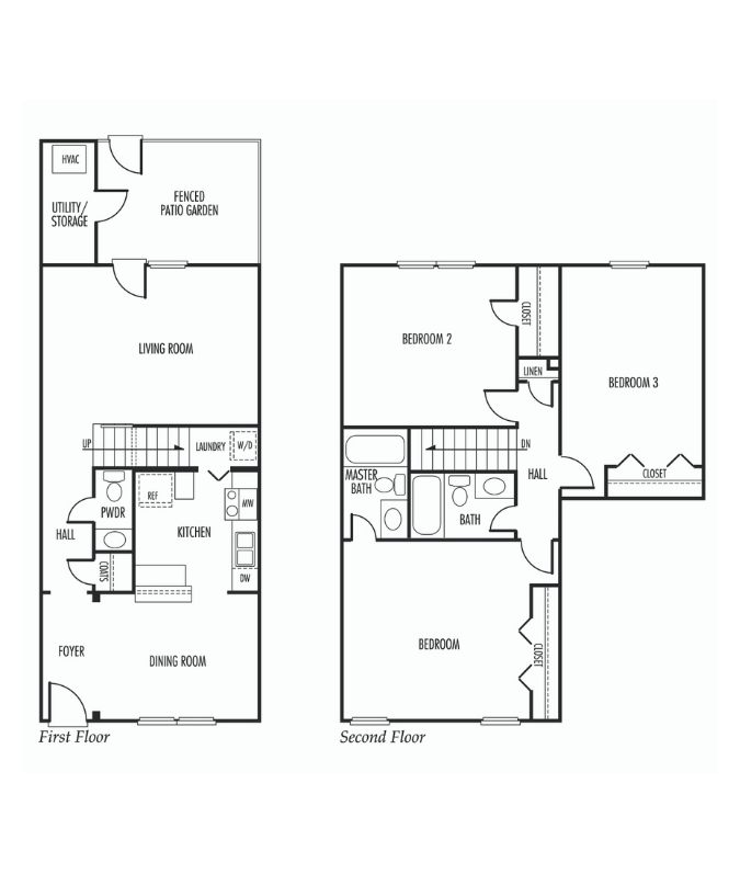 Floor plan of a 3 bed, 2.5 bath townhome